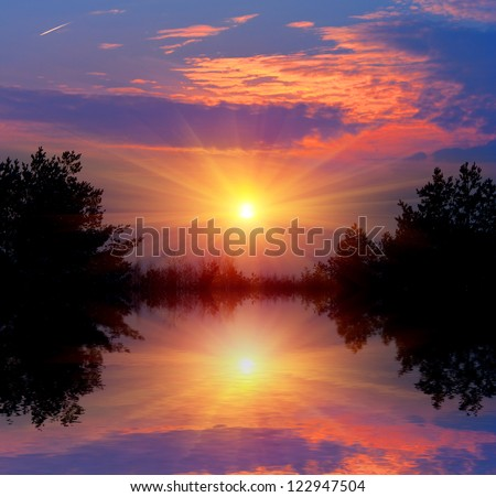 Nice sunset with water reflection