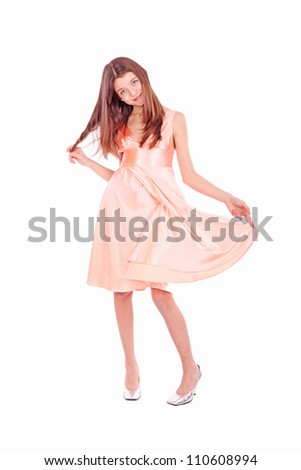 Nice teen girl in pink dress