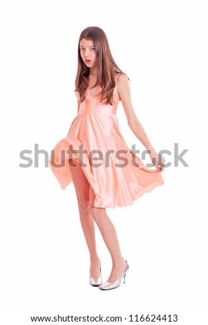 Nice teen girl in pink dress