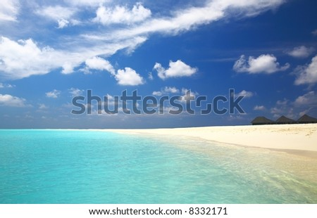 Nice tropical beach on the island Kuredu in the Indian Ocean, Maldives - stock photo