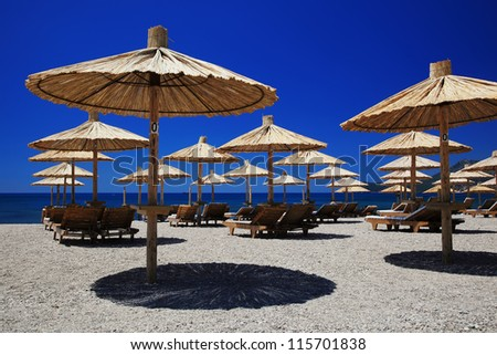 Nice vacation picture with beach parasols