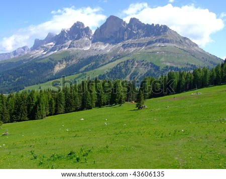 nice view in Dolomites mountains - stock photo