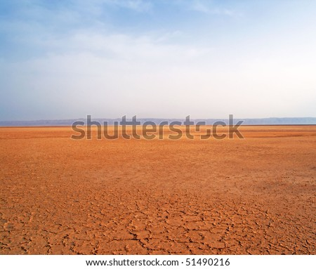 Nice view of Sahara desert with blue sky, Tunisia