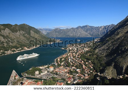 Nice view of the Bay of Kotor in Montenegro. Panoramma city  #222360811