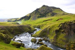 Nice view on Skoga river (place where the Laugavegur trek starts), Skogar, Iceland