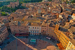 Nice view on the old town and city of Siena, Italy