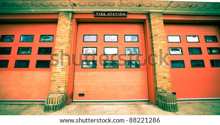 Nice vintage toned image of a fire station in the UK