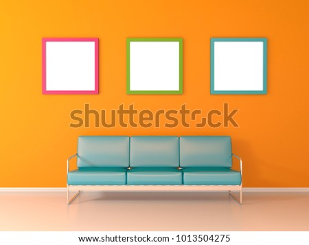 Nice waiting room with yellow wall and three picture frames 3D render