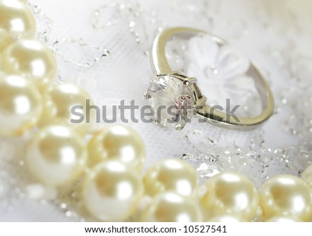 stock photo Nice wedding background wedding dress fabric with pearls and