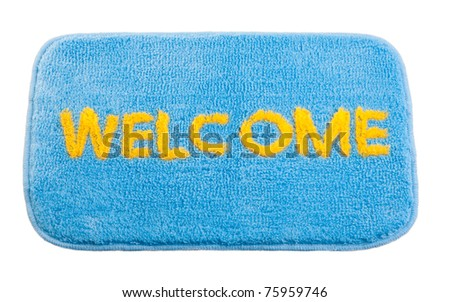 Nice welcome cleaning foot carpet doormat isolated on white