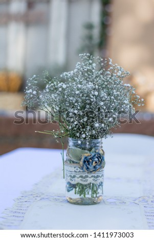 Nice white and natural garden party for wedding decoration or baptism decoration #1411973003