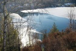 nice winterlandscape with frozen lake