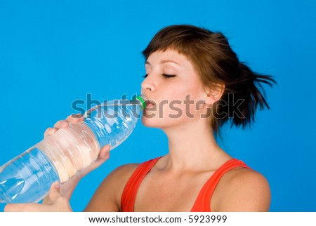 nice woman with bottle of water