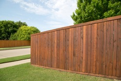 Nice wooden fence around house