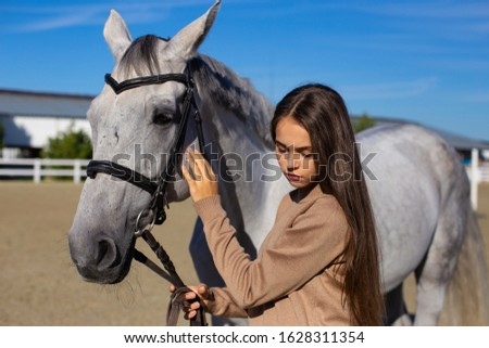nice young girl gently stroking a horse