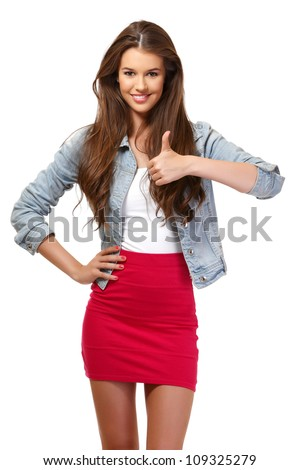 nice young woman smiling in studio