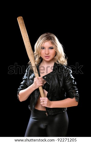 Nice young woman with a bat in their hands. Isolated