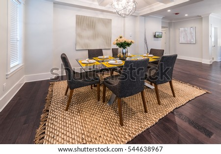 Nicely decorated and served dining, lunch  room table. Interior design. #544638967