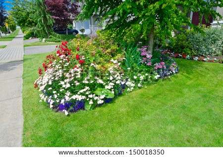 Nicely decorated colorful flowerbed and trimmed front yard lawn aside sidewalk. Landscape design.