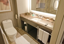 Nicely decorated modern washroom with the toilet and towels