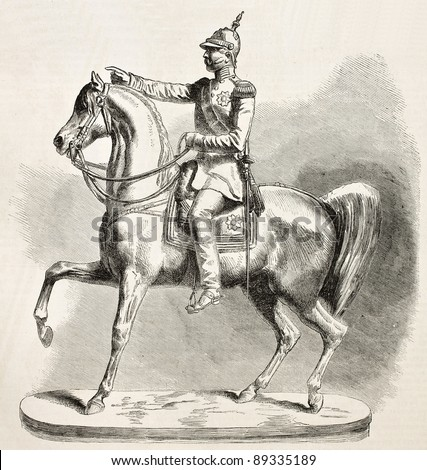 Nicholas I Emperor of Russia equestrian statue. Created by Van Clef, published on L'Illustration, Journal Universel, Paris, 1858