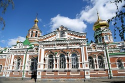 Nicholas Kazan Cathedral was built 1911-1913, Omsk, Siberia, Russia. Photo: April 26, 2016.