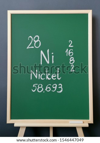 Nickel - element of the periodic table. Symbol for the chemical element nickel with atomic data (atomic mass, atomic number and electron configuration) written on green chalkboard.