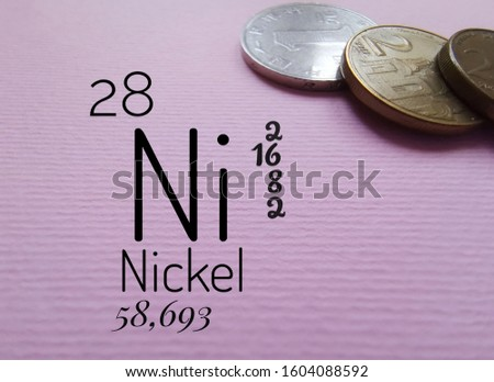 Nickel is a chemical element with the symbol Ni and atomic number 28. The symbol Ni with atomic data (atomic number, atomic mass and electron configuration) and nickel coins in the background.