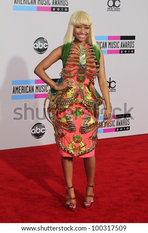 Nicki Minaj at the 2010 American Music Awards Arrivals, Nokia Theater, Los Angeles, CA. 11-21-10