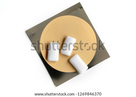 Nicotine patch and chewin gum used for smoking cessation isolated on white background Stock photo ©