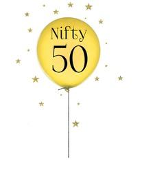Nifty Fifty birthday balloon on white background.