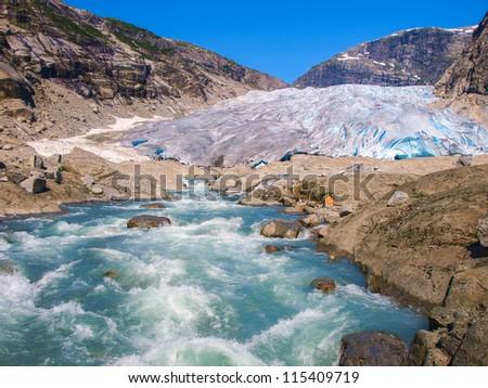 Nigardsbreen Glacier, glacial river falling to Nigardsvatnet Jostedalsbreen National Park, Norway