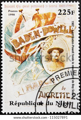 NIGER - CIRCA 1998: A postage stamp printed by Niger shows image portrait of Lord Baden-Powell founder and Chief Scout of the Scout Movement, circa 1998.