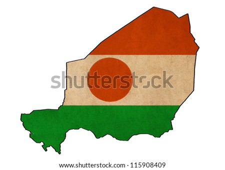 Niger map on Niger flag drawing ,grunge and retro flag series