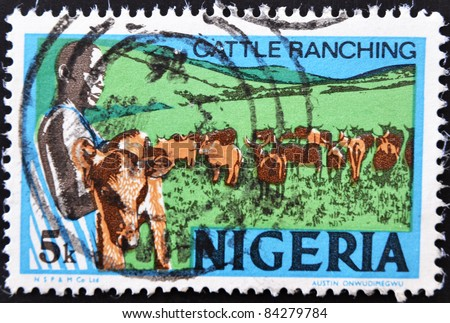 NIGERIA - CIRCA 1973: A stamp printed in Nigeria showing cattle ranching, circa 1973