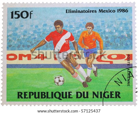 NIGERIA - CIRCA 1986: A stamp printed in Nigeria showing football players, circa 1986