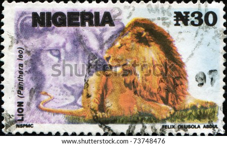 NIGERIA- CIRCA 1993: A stamp printed in Nigeria shows Lion - Panthera leo, circa 1993