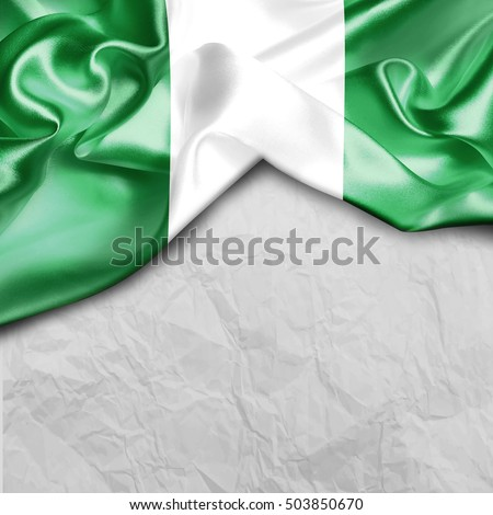 Nigeria Country Flag on paper background #503850670