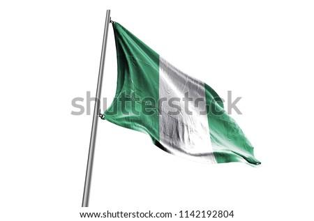 NIGERIA Flag waving white background #1142192804