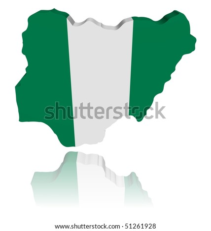 Nigeria map flag 3d render with reflection illustration