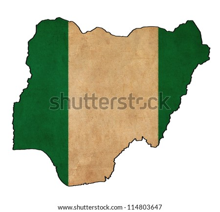 Nigeria map on Nigeria flag drawing ,grunge and retro flag series