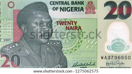 Nigeria 20 naira banknote. Nigerian money currency close up. Africa economy. #1275062575