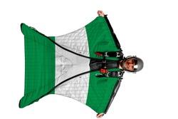 Nigeria symbol. Wing men. Men in wing suit templet. Skydiving men in parashute. Simulator of free fall.