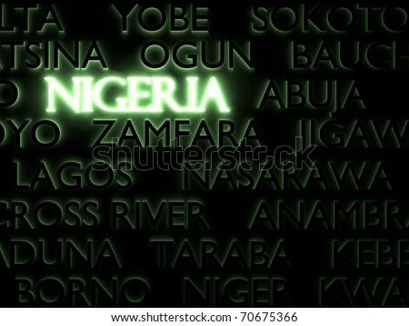 Nigeria typography/Digitally rendered scene