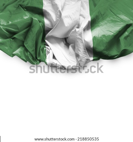 Nigeria waving flag on white background