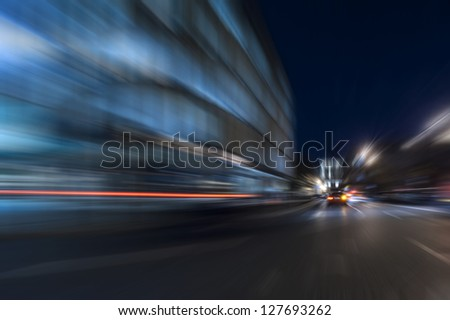 Night acceleration speed motion abstract in blue