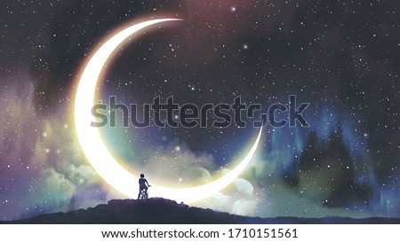 night adventure of a little rider, the boy on bicycle looking at the crescent moon in the beautiful sky, digital art style, illustration painting