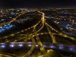 Night aerial shot of Spaghetti Junction in Birmingham,UK.