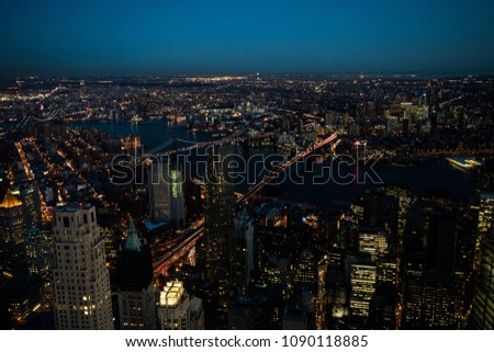 Night aerial view of Brooklyn Bridge, Brooklyn and Manhattan Downtown from Downtown side
