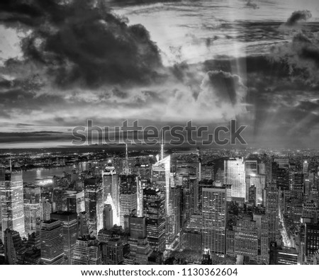 Night aerial view of Midtown skyscrapers. #1130362604
